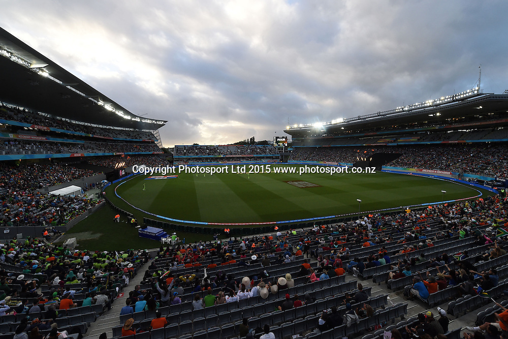General view of the stadium during the ICC Cricket World Cup match between Pakistan and South Africa at Eden Park in Auckland, New Zealand. Saturday 07 March 2015. Copyright Photo: Raghavan Venugopal / www.photosport.co.nz