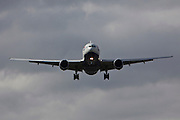 A British Airways Boeing 777 landing at Heathrow airports north runway.
