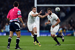 George Ford of England receives the ball - Mandatory byline: Patrick Khachfe/JMP - 07966 386802 - 03/10/2015 - RUGBY UNION - Twickenham Stadium - London, England - England v Australia - Rugby World Cup 2015 Pool A.