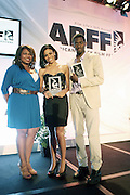 Miami Beach, Florida, NY-June 23: (L-R )Kendra Carter, Director of Talent Diversity Intiatives, NBC Universal, Actress Sheral McKinney and Actor Robert Hunter, winners of the ABFF Star Project attend the 2012 American Black Film Festival Winners Circle Awards Presentation held at the Ritz Carlton Hotel on June 23, 2012 in Miami Beach, Florida (Photo by Terrence Jennings)