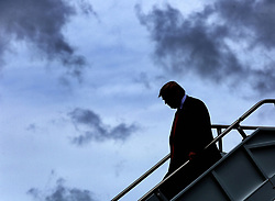 October 8, 2018 - Orlando, Florida, U.S. - President DONALD TRUMP  steps off Air Force One at Orlando International Airport, on his way to deliver remarks to the International Association of Chiefs of Police, at the Orange County Convention Center. (Credit Image: © Joe Burbank/Orlando Sentinel/TNS via ZUMA Wire)