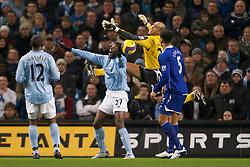 MANCHESTER, ENGLAND - Monday, February 25, 2008: Everton's goalkeeper Tim Howard and Manchester City's Mwaruwari Benjani during the Premiership match at the City of Manchester Stadium. (Photo by David Rawcliffe/Propaganda)
