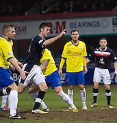 Declan Gallagher celebrates after heading home Dundee's 5th - Dundee v Greenock Morton, William Hill Scottish Cup 5th Round at Dens Park .. - © David Young - www.davidyoungphoto.co.uk - email: davidyoungphoto@gmail.com