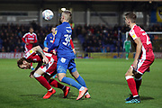 AFC Wimbledon striker Joe Pigott (39) battles for possession during the EFL Sky Bet League 1 match between AFC Wimbledon and Gillingham at the Cherry Red Records Stadium, Kingston, England on 23 November 2019.