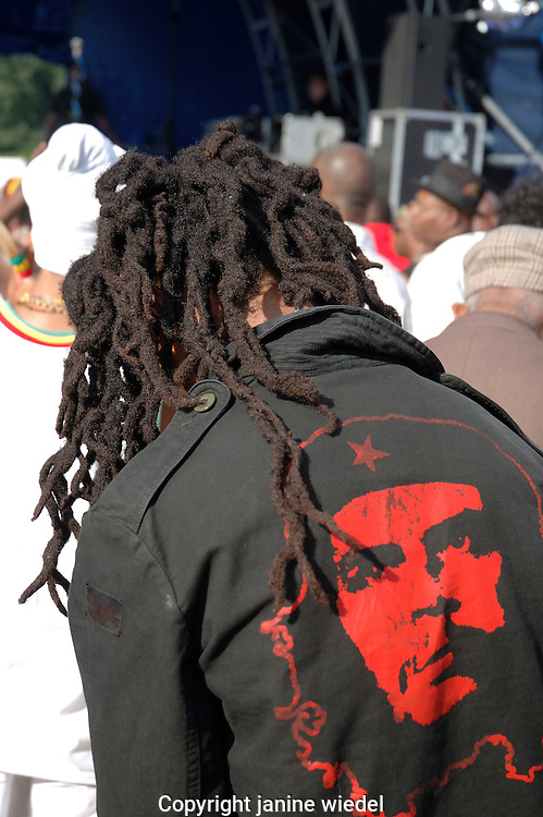 Back view of Rasta man with dreadlocks.