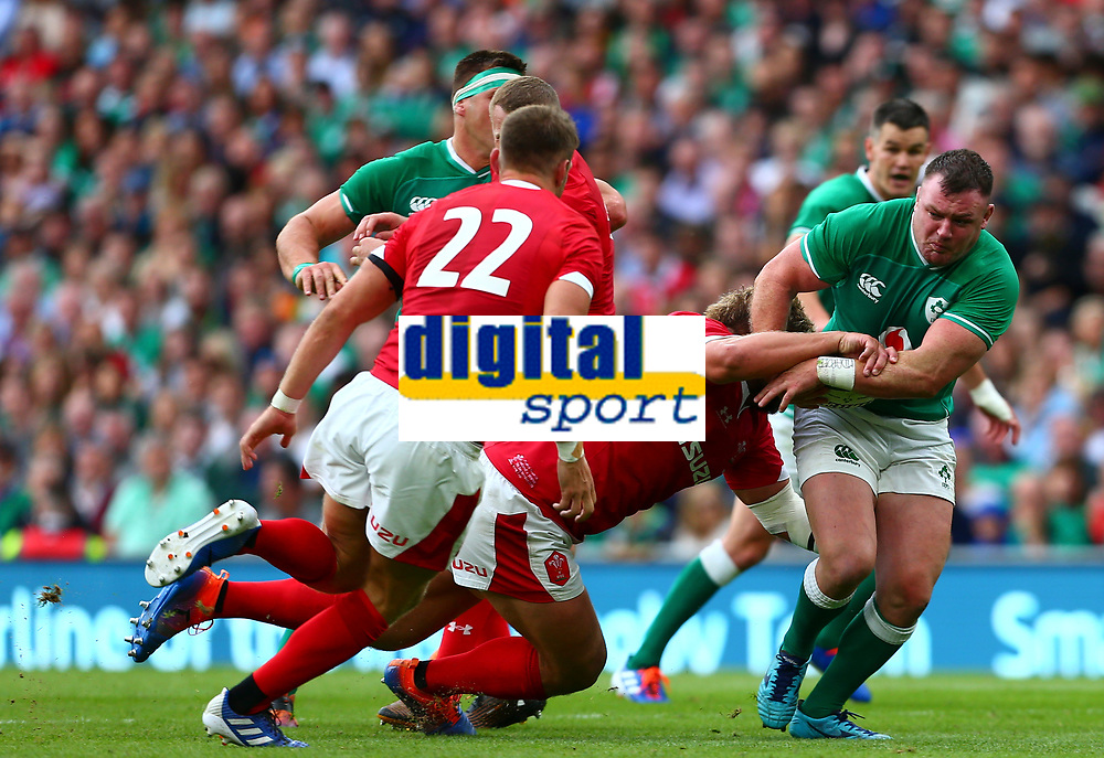 Rugby Union - 2019 pre-Rugby World Cup warm-up (Guinness Summer Series) - Ireland vs. Wales<br /> <br /> Dave Kilcoyne (Ireland) is tackled by Tomas Francis (Wales) at The Aviva Stadium.<br /> <br /> COLORSPORT/KEN SUTTON