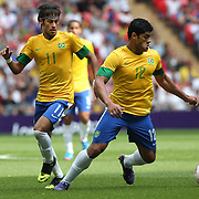 Neymar, (left) and Hulk, (Brazil), in action during the Brazil V Mexico Gold Medal Men's Football match at Wembley Stadium during the London 2012 Olympic games. London, UK. 11th August 2012. Photo Tim Clayton