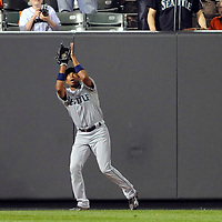 09 June 2009:  Seattle Mariners left fielder Endy Chavez (10) makes a catch on fly ball to deep left field off the bat of Baltimore Orioles designated hitter Luke Scott in the 5th inning at Camden Yards in Baltimore, MD.  The Orioles defeated the Mariners 3-1.  ****For Editorial Use Only****