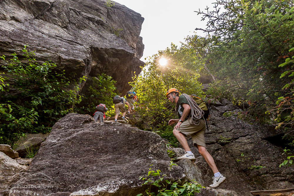 Writer Brad Tuttle with his sons as they approach Square Ledge in New Hampshire's White Mountains.