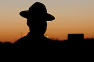 United States Marine Corps Drill Instructor at sunrise. Marine Corps Recruit Depot (MCRD) Parris Island, SC on March 14, 2013.