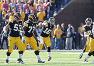 October 22, 2011: Iowa Hawkeyes quarterback James Vandenberg (16) throws the ball during the first half of the NCAA football game between the Indiana Hoosiers and the Iowa Hawkeyes at Kinnick Stadium in Iowa City, Iowa on Saturday, October 22, 2011. Iowa defeated Indiana 45-24.