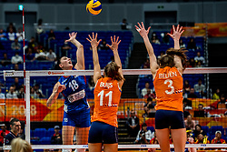 19-10-2018 JPN: Semi Final World Championship Volleyball Women day 18, Yokohama<br /> Serbia - Netherlands / Yvon Belien #3 of Netherlands, Anne Buijs #11 of Netherlands, Tijana Boskovic #18 of Serbia