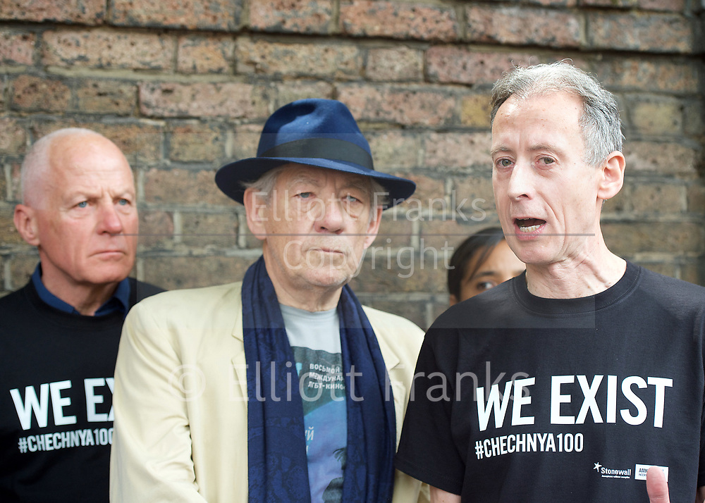 Lord Michael Cashman  ; Sir Ian McKellen and<br /> Peter Tatchell <br /> <br /> Amnesty International UK<br /> CHECHNYA: STOP ABDUCTING AND KILLING GAY MEN<br /> protest at the Russian Embassy, London, Great Britain <br /> 2nd June 2017 <br /> <br /> Over a hundred men suspected of being gay have been abducted, tortured and some even killed in the southern Russian republic of Chechnya.<br /> <br /> The Chechen government won&rsquo;t admit that gay men even exist in Chechnya, let alone that they ordered what the police call 'preventive mopping up' of people they deem undesirable. We urgently need your help to call out the Chechen government on the persecution of people who are, as they put it, of 'non-traditional orientation', and urge immediate action to ensure their safety.<br /> <br /> Photograph by Elliott Franks <br /> Image licensed to Elliott Franks Photography Services