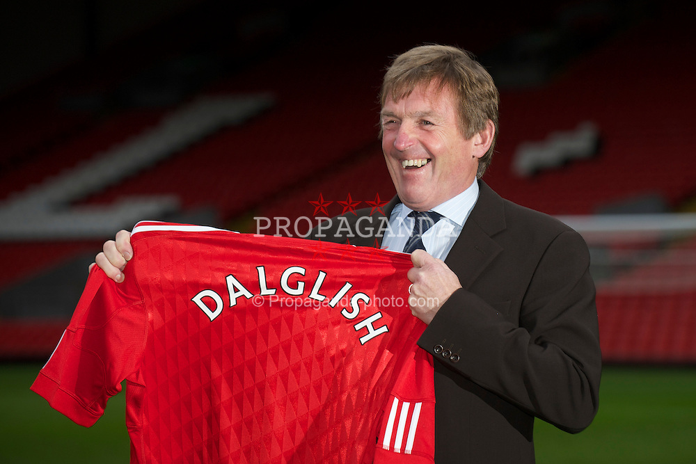 LIVERPOOL, ENGLAND - Monday, January 10, 2011: Liverpool's new manager Kenny Dalglish pictured during a photo-call to official announce his appointment at Anfield. (Pic by: David Rawcliffe/Propaganda)