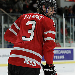 COBOURG, - Dec 16, 2015 -  Game #9 - Canada East vs Canada West at the 2015 World Junior A Challenge at the Cobourg Community Centre, ON. Dean Stewart #3 of Team Canada West during the pre-game warmup<br /> (Photo: Amy Deroche / OJHL Images)