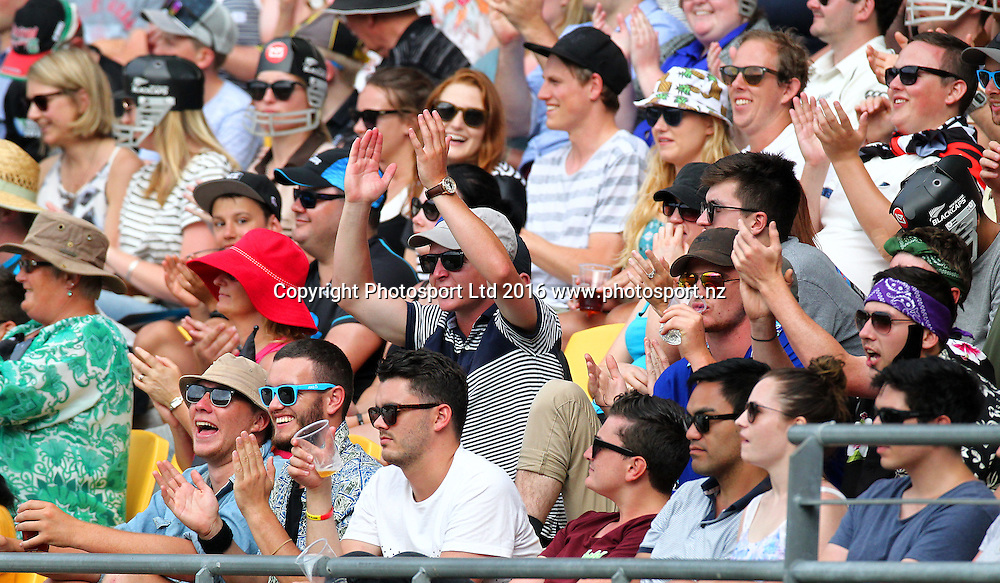 Fans. New Zealand Black Caps v Australia, 2nd match of the Chappell-Hadlee ODI Cricket Series. Westpac Stadium, Wellington, New Zealand. Saturday 6th February 2016. Copyright Photo.: Grant Down / www.photosport.nz