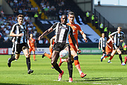 Notts County forward Jonathan Forte (14) holds off Luton Town defender Dan Potts (3) during the EFL Sky Bet League 2 match between Notts County and Luton Town at Meadow Lane, Nottingham, England on 5 May 2018. Picture by Jon Hobley.