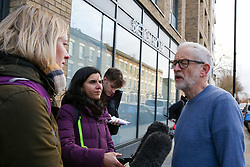 © Licensed to London News Pictures. 04/01/2020. London, UK. Leader of Labour Party, JEREMY CORBYN speaking with the media at the crime scene in Finsbury Park. Police launch a murder investigation following a death of a man in his 30s on Friday 3 January 2020. Police were called at approximately 6.50pm to reports of a man stabbed and the he was pronounced dead at the scene just after 7.30pm.  Photo credit: Dinendra Haria/LNP
