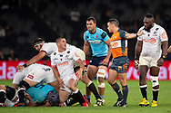 SYDNEY, AUSTRALIA - APRIL 27: Sharks player Louis Schreuder (21) appeals for a penalty at round 11 of Super Rugby between NSW Waratahs and Sharks on April 27, 2019 at Western Sydney Stadium in NSW, Australia. (Photo by Speed Media/Icon Sportswire)