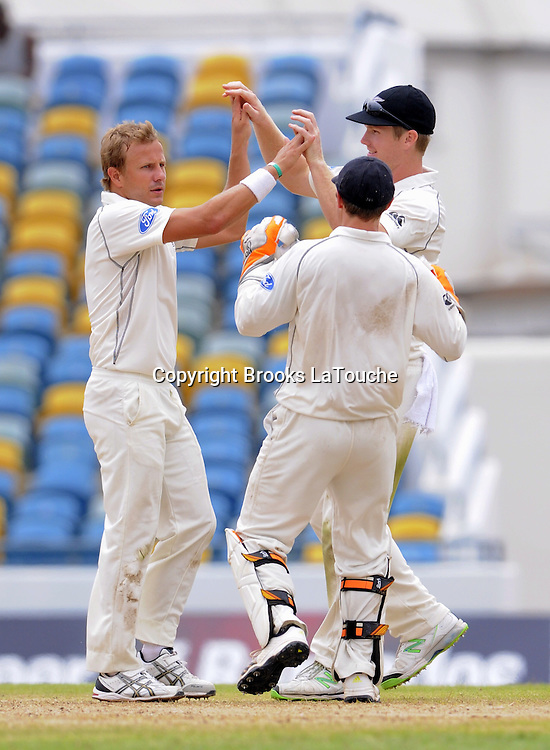 New Zealand bowler Neil Wagner celebrates the dismissal of West Indies batsman Kraigg Brathwaite during day two of the Third and Final Test West Indies v New Zealand at Kensington Oval, Barbados.<br /> Photo: Randy Brooks/www.photosport.co.nz