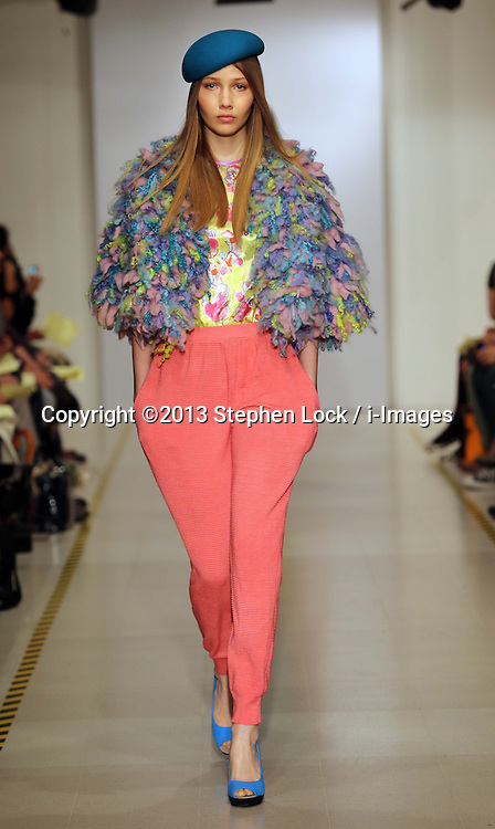 Womens knitwear designs by student Danielle Ingemann at the Royal College of Art Graduate Fashion Show in London Thursday, 30th May 2013<br /> Picture by :  Stephen Lock / i-Images