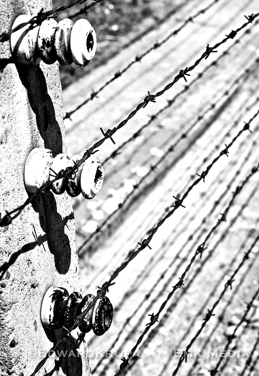 Electrified barbed wire fence in Auschwitz.