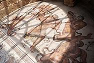 Piazza Armerina, Sicilia - 22 giugno 2012. Un mosaico che rappresenta le fatiche di Ercole una sala della  Villa Romana del Casale a Piazza Armerina- Sullo sfondo spicca la nuova struttura realizzata in legno e acciaio che riprende le dimensioni originali della villa romana. Il sito archologico, di epoca romana e patrimonio dell'Unesco, custodisce al suo interno esempi di mosaici tra i più importanti al mondo..Ph. Roberto Salomone Ag. Controluce.ITALY - A mosaic rapresenting the fatigues of Hercoles  inside the roman archeological site of Villa Romana del Casale in Piazza Armerina (Sicily) on June 22, 2012. The world heritage archological site preserves some of the most beautiful mosaics of roman age.