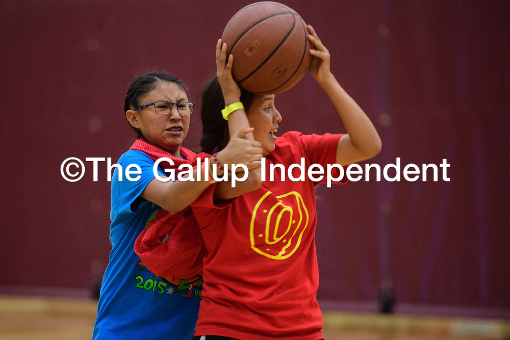 Kierra Bahe tries to make a pass while Cayleen Herley plays defense during a scrimmage at the True Hoops Basketball Camp, Wednesday July 18 at Rehoboth Christian School.
