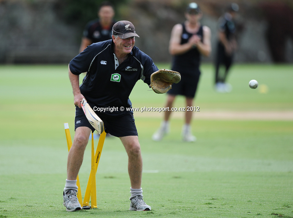 Coach John Wright as the Vodafone Warriors joined the New Zealand Black Caps for a training session at Colin Maiden Oval, Auckland on Tuesday 21 February 2012. Photo: Andrew Cornaga/Photosport.co.nz