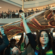Protestors associated with the Black Lives Matter movement stage a protest at the rotunda at the Mall of America in Bloomington, Minneapolis on December 20, 2014. <br /> <br /> Photo by Angela Jimenez <br /> www.angelajimenezphotography.com