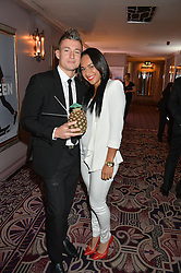 Tennis player HEATHER WATSON and her boyfriend PHILIP STEPHENS at the WGSN Global Fashion Awards 2015 held at The Park Lane Hotel, Piccadilly, London on 14th May 2015.