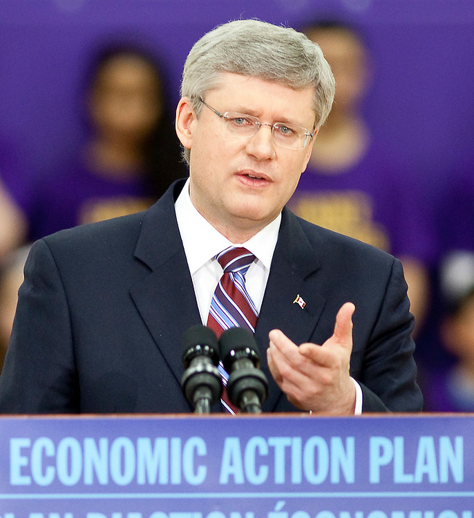 Prime Minister Stephen Harper speaks at a press conference at St. Ignatius of Loyola School in Guelph Ontario, Friday, March 11, 2011 where he announced funding for teaching science in schools.<br /> THE CANADIAN PRESS/ Geoff Robins