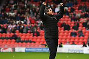 Joey Barton, Manager of Fleetwood Town celebrates his side going 4-0 up during the EFL Sky Bet League 1 match between Doncaster Rovers and Fleetwood Town at the Keepmoat Stadium, Doncaster, England on 6 October 2018.