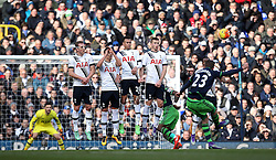 The Tottenham Hotspur wall, consisting of Harry Kane, Erik Lamela, Dele Alli and Eric Dier watch Gylfi Sigurosson of Swansea City take a free kick - Mandatory byline: Robbie Stephenson/JMP - 28/02/2016 - FOOTBALL - White Hart Lane - Tottenham, England - Tottenham Hotspur v Swansea City - Barclays Premier League