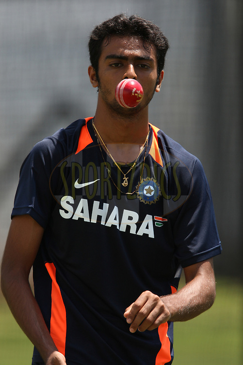 Jaydev Unadkat of India during the South Africa and India team practice sessions held at Kingsmead Stadium in Durban on Christmas eve, 24th December.  ( The second test match between South Africa and India is due to start on 26th December 2010 at Kingsmead )..Photo by Steve Haag/BCCI/SPORTZPICS