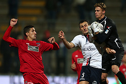 November 12, 2017 - Teramo, TE, Italy - Giacomo Volpe of A.S. Gubbio 1910 fight for the ball with Ciro Foggia of Teramo Calcio 1913 during the Lega Pro 17/18 group B match between Teramo Calcio 1913 and AS Gubbio 1910 at Gaetano Bonolis stadium on November 12, 2017 in Teramo, Italy. (Credit Image: © Danilo Di Giovanni/NurPhoto via ZUMA Press)
