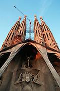 Sagrada Familia by Antoni Gaudi. Passion Facade at sunset.