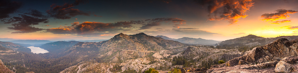 """Donner Summit Sunset 1"" - Stitched panoramic photograph of Truckee, Donner Lake, and Donner Summit. Shot on Labor Day 2017 at sunset."