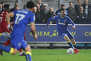 AFC Wimbledon defender George Francomb (7) dribbling during the EFL Sky Bet League 1 match between AFC Wimbledon and Charlton Athletic at the Cherry Red Records Stadium, Kingston, England on 10 April 2018. Picture by Matthew Redman.