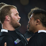 Owen Franks, (left) and Keven Mealamu, New Zealand, celebrate at the end of the game during the New Zealand V France Final at the IRB Rugby World Cup tournament, Eden Park, Auckland, New Zealand. 23rd October 2011. Photo Tim Clayton...