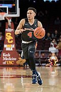 Pepperdine Waves guard Colbey Ross (4) dribbles up court against the Southern California Trojans during an NCAA college basketball game, Tuesday, Nov. 19, 2019, in Los Angeles. USC defeated Pepperdine 91-84. (Jon Endow/Image of Sport)