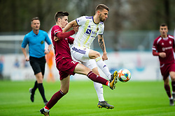 Zan Kumer of Triglav vs Jan Mlakar of Maribor during Football match between NK Triglav and NK Maribor in 25th Round of Prva liga Telekom Slovenije 2018/19, on April 6, 2019, in Sports centre Kranj, Slovenia. Photo by Vid Ponikvar / Sportida