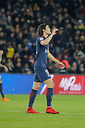 Edinson Roberto Paulo Cavani Gomez (psg) (El Matador) (El Botija) (Florestan) scored a goal and celebrated it, reacted to think the god during the French Championship Ligue 1 football match between Paris Saint-Germain and RC Strasbourg on february 17, 2018 at Parc des Princes stadium in Paris, France - Photo Stephane Allaman / ProSportsImages / DPPI