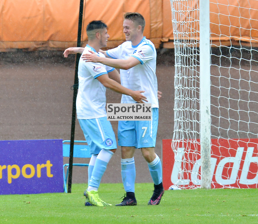 Double delight - Forfar's opening goalscorer Kevin Milne celebrates with second goalscorer Josh Peters after Peters had bagged his side's winning goal....(c) BILLY WHITE | SportPix.org.uk