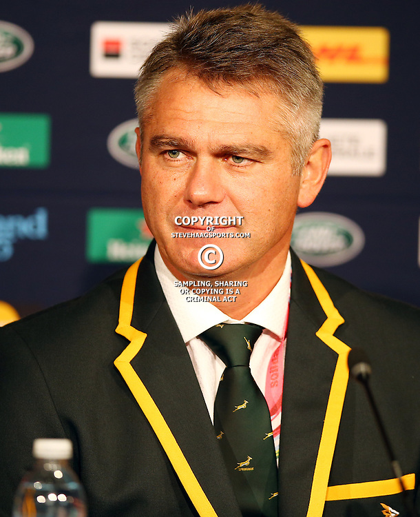 NEWCASTLE UPON TYNE, ENGLAND - OCTOBER 03:Heyneke Meyer (Head Coach) of South Africa during the Rugby World Cup 2015 Pool B match between South Africa and Scotland at St James Park on October 03, 2015 in Newcastle upon Tyne, England. (Photo by Steve Haag/Gallo Images)