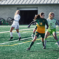 4th year forward, Alex Ensign (14) of the Regina Cougars during the Women's Soccer home game on Sun Oct 14 at U of R Field. Credit: Arthur Ward/Arthur Images