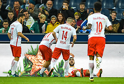 20.11.2016, Red Bull Arena, Salzburg, AUT, 1. FBL, FC Red Bull Salzburg vs SK Rapid Wien, 15. Runde, im Bild Torjubel Red Bulls nach dem 1:0 durch Munas Dabbur (FC Red Bull Salzburg) // Goal Celebration Red Bulls after Munas Dabbur (FC Red Bull Salzburg) scores during Austrian Football Bundesliga 15th round Match between FC Red Bull Salzburg and SK Rapid Vienna at the Red Bull Arena, Salzburg, Austria on 2016/11/20. EXPA Pictures © 2016, PhotoCredit: EXPA/ JFK