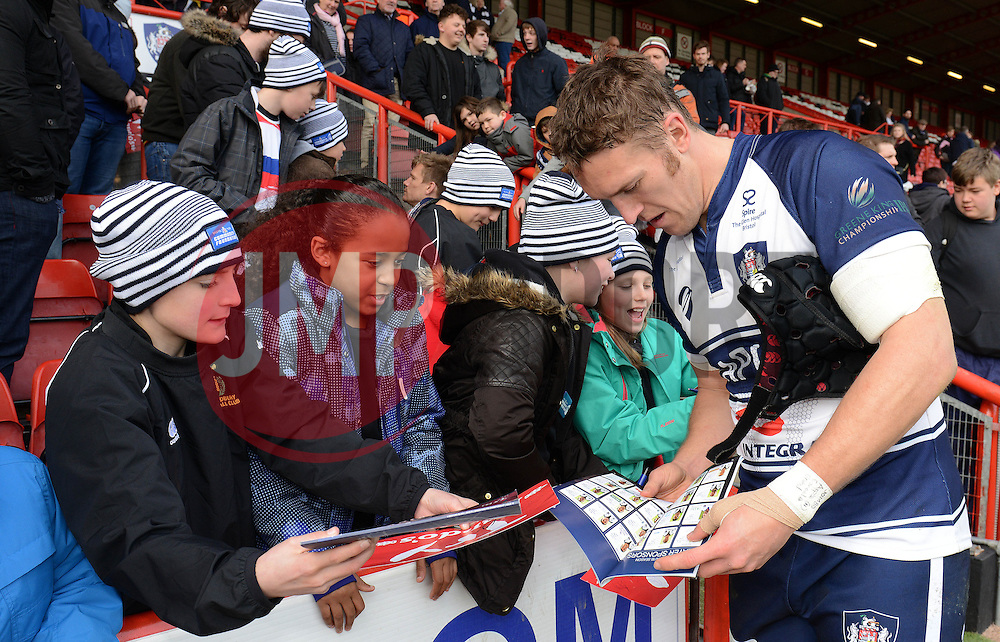 Bristol Rugby replacement Ben Skirving signs autographs for fans - Photo mandatory by-line: Dougie Allward/JMP - Mobile: 07966 386802 - 29/03/2015 - SPORT - Rugby - Bristol - Ashton Gate - Bristol Rugby v Bedford Blues - Greene King IPA Championship