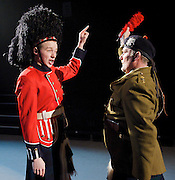 Black Watch <br /> National Theatre of Scotland<br /> written by Gregory Burke and directed by John Tiffany<br /> at The Barbican Theatre, London, Great Britain <br /> press photocall <br /> 26th November 2010 <br /> <br /> Jack Lowden (as Cammy)<br /> Ian Pirie (as Officer)<br /> <br /> <br /> Photograph by Elliott Franks