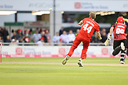 Lancashires James Falkner tries to run out Stuart Pointer (Wicket Keeper) of Durham Jets during the Vitality T20 Blast North Group match between Lancashire Lightning and Durham Jets at the Emirates, Old Trafford, Manchester, United Kingdom on 7 August 2018.